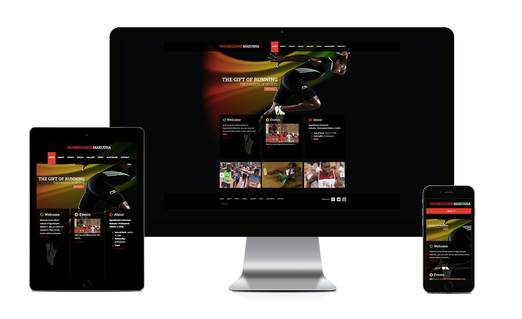 Webking portfolio Athlete website